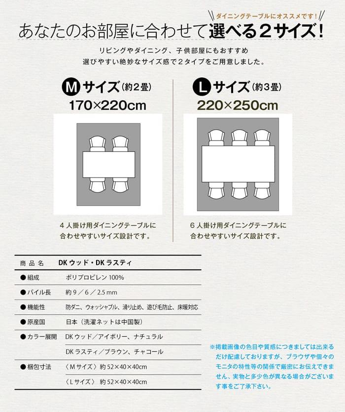 170x220cm 約二畳 220x250cm 約三畳