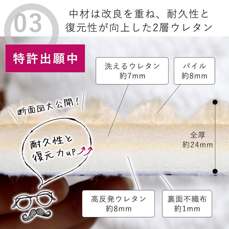 フランネルラグ ストライプ 2層ウレタン 洗える